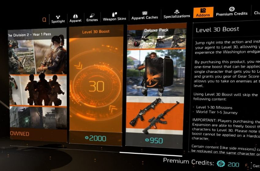 How to use the Level 30 boost in The Division 2
