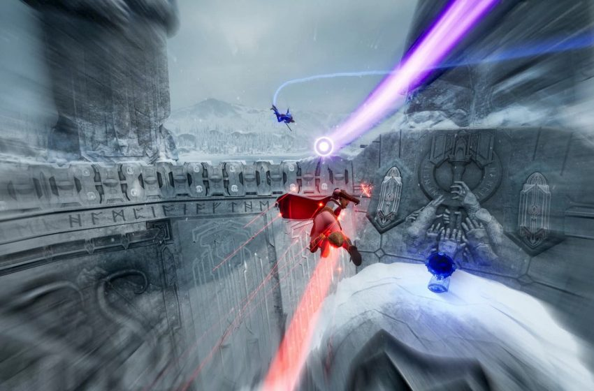 Red and blue characters flying on broomsticks with motion blur around a grey arena.