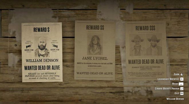Image of Red Dead Online's Bounty Board.